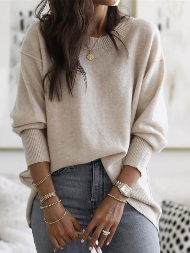 Long Sleeve Solid Cotton-Blend Sweater