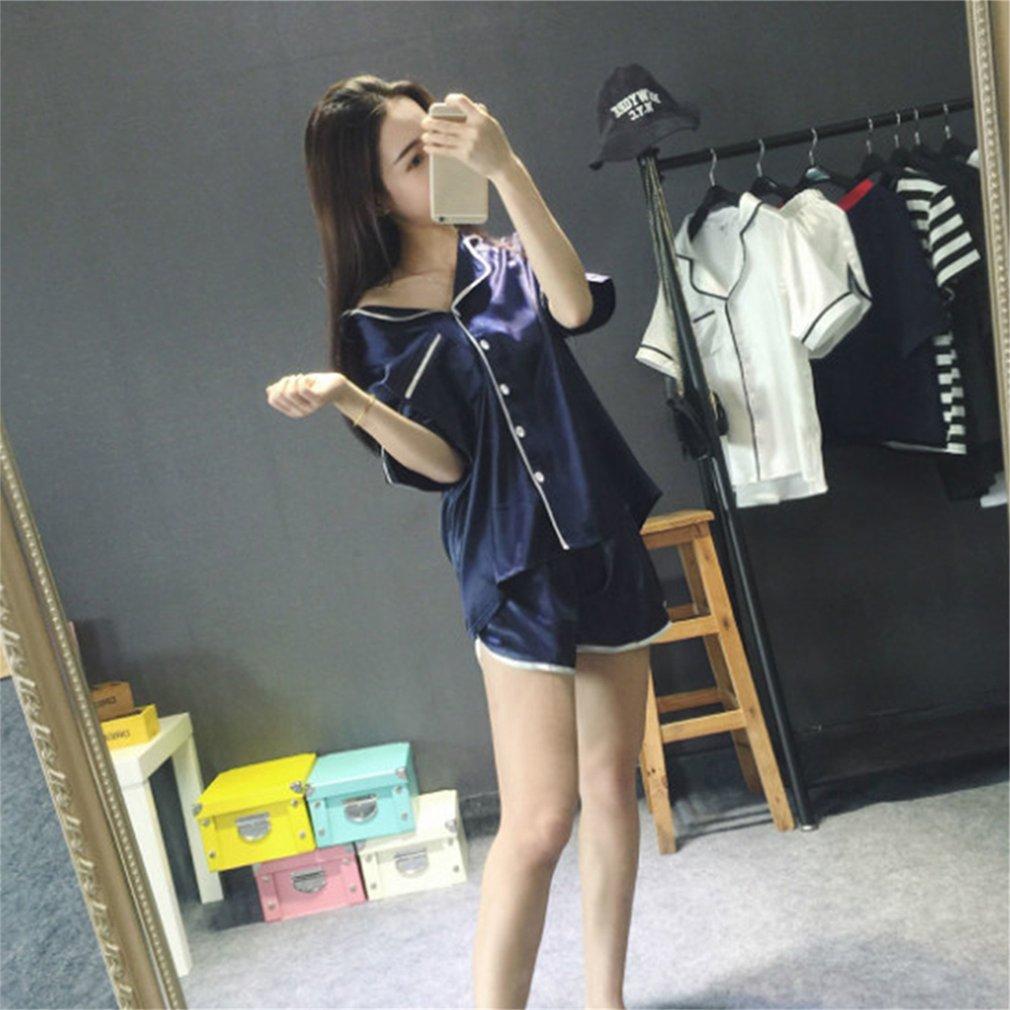 2PCS/SET Simple Design Comfortable Women Silk Summer Nightwear Pajamas Sets