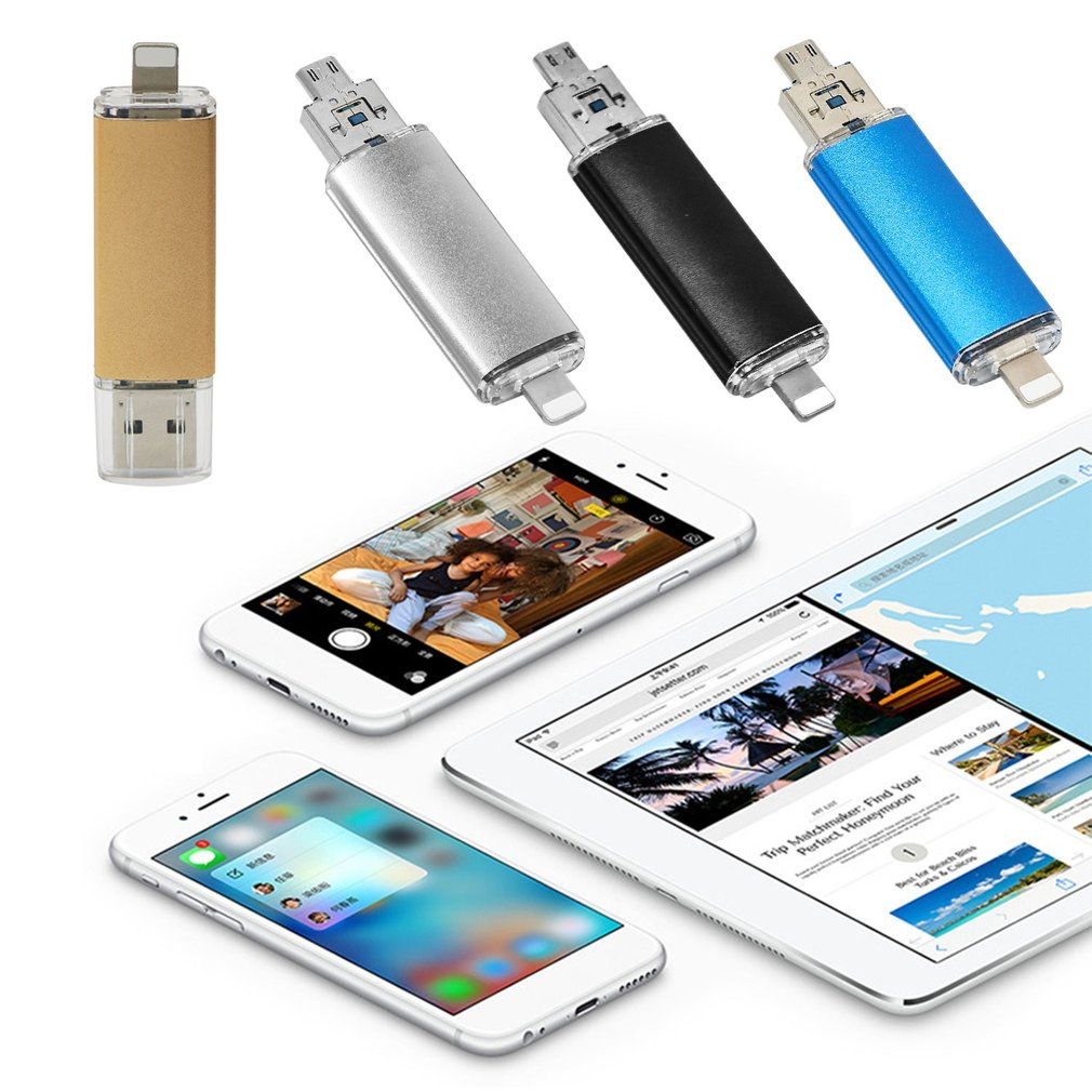 3-In-1 USB Flash Drive For iPhone Pen Drive Micro-USB U-Disk for PC Android
