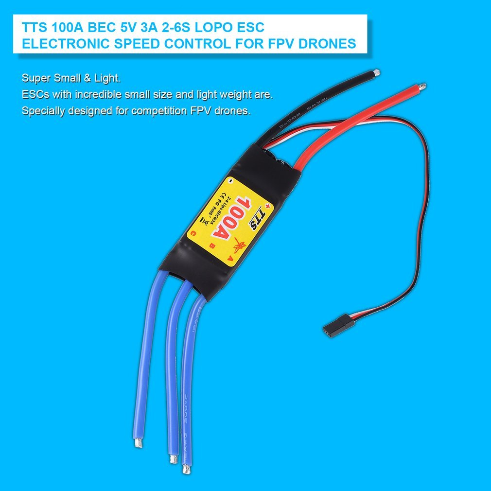 TTS 100A BEC 5V 3A 2-6S LOPO ESC Electronic Speed Control for FPV Drones