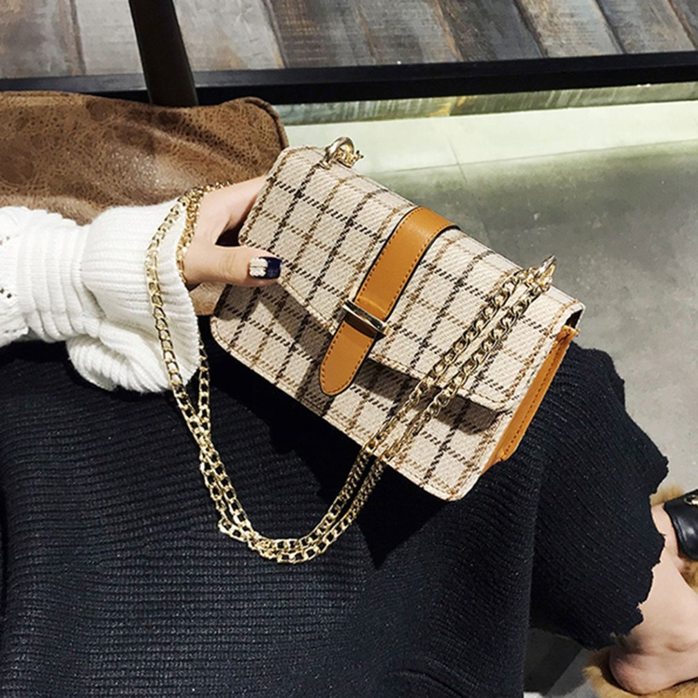 Vintage Plaid Pattern Woollen Cloth Chain Shoulder Bag Crossbody Bag Small Flap Bag All-match Style For Woman Girls Handbag