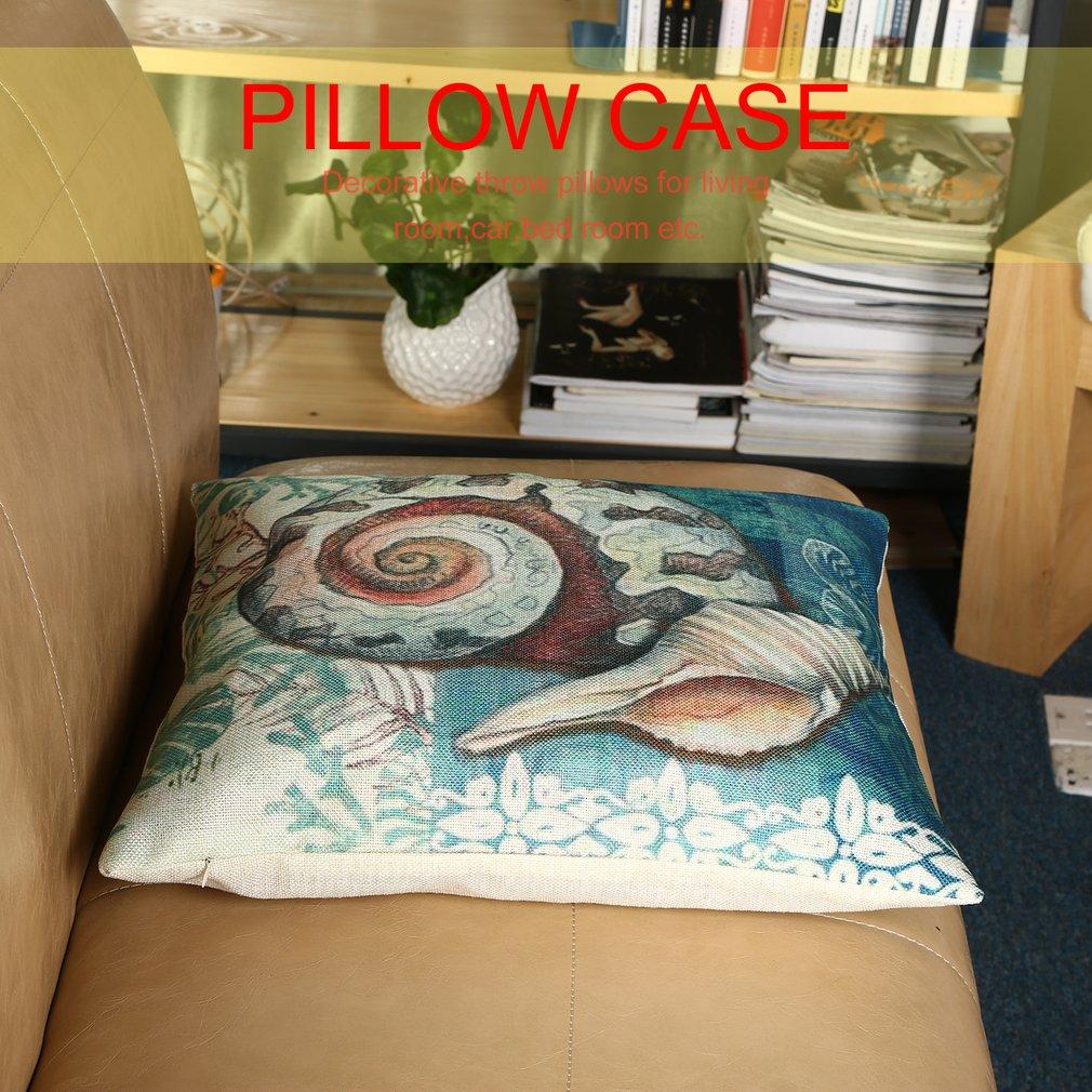 Ocean Style Cotton Linen Cushion Cover Soft Car Sofa Decorative Pillow Case