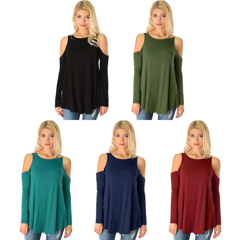 Solid Color Strapless Off Shoulder Long Sleeved T-shirt Sexy Lady Casual Cotton Women Female Tops Tee Autumn Summer Shirt
