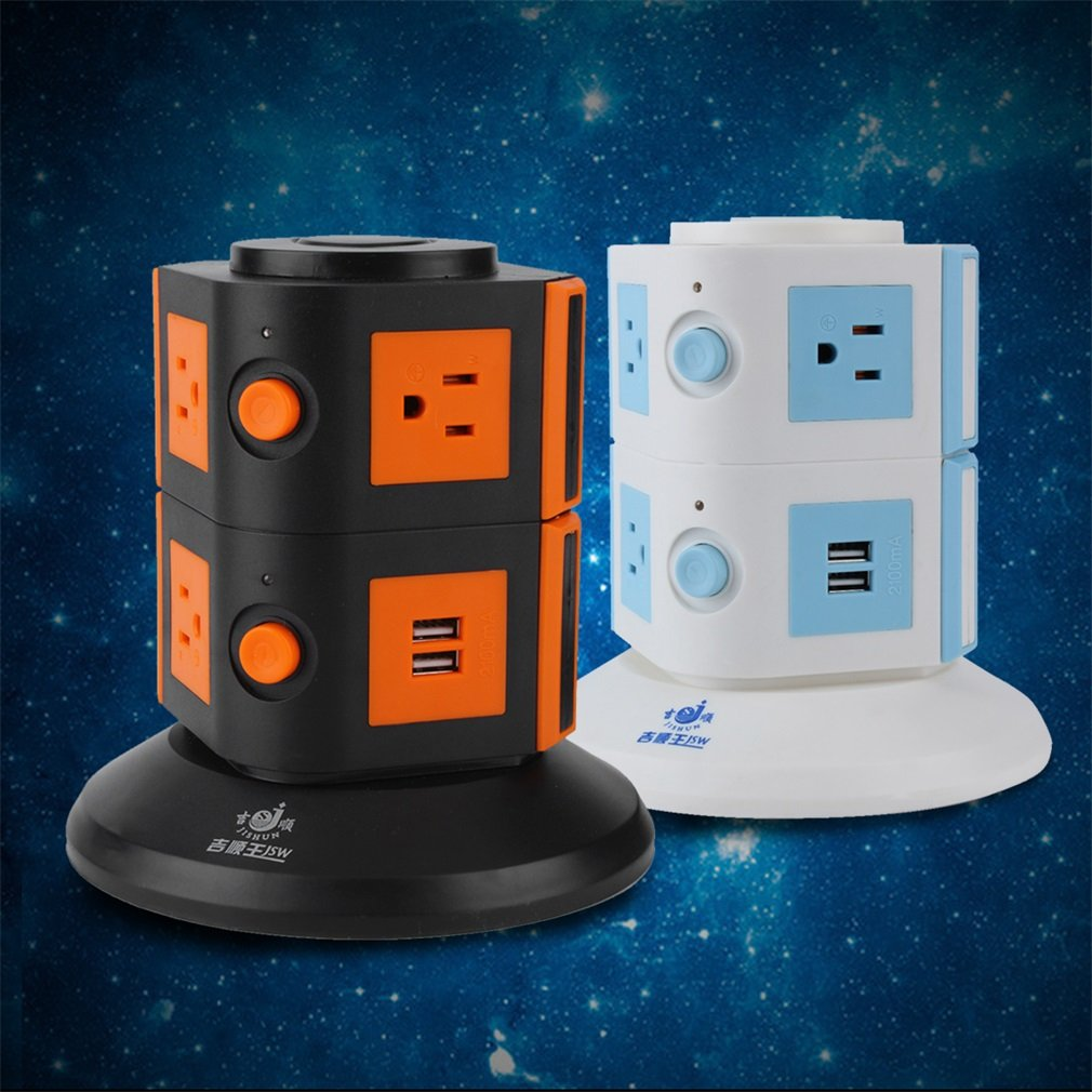 2Layers 7 Ways Power Multi Switched Vertical Socket+2 USB Jack Charger 1.8m