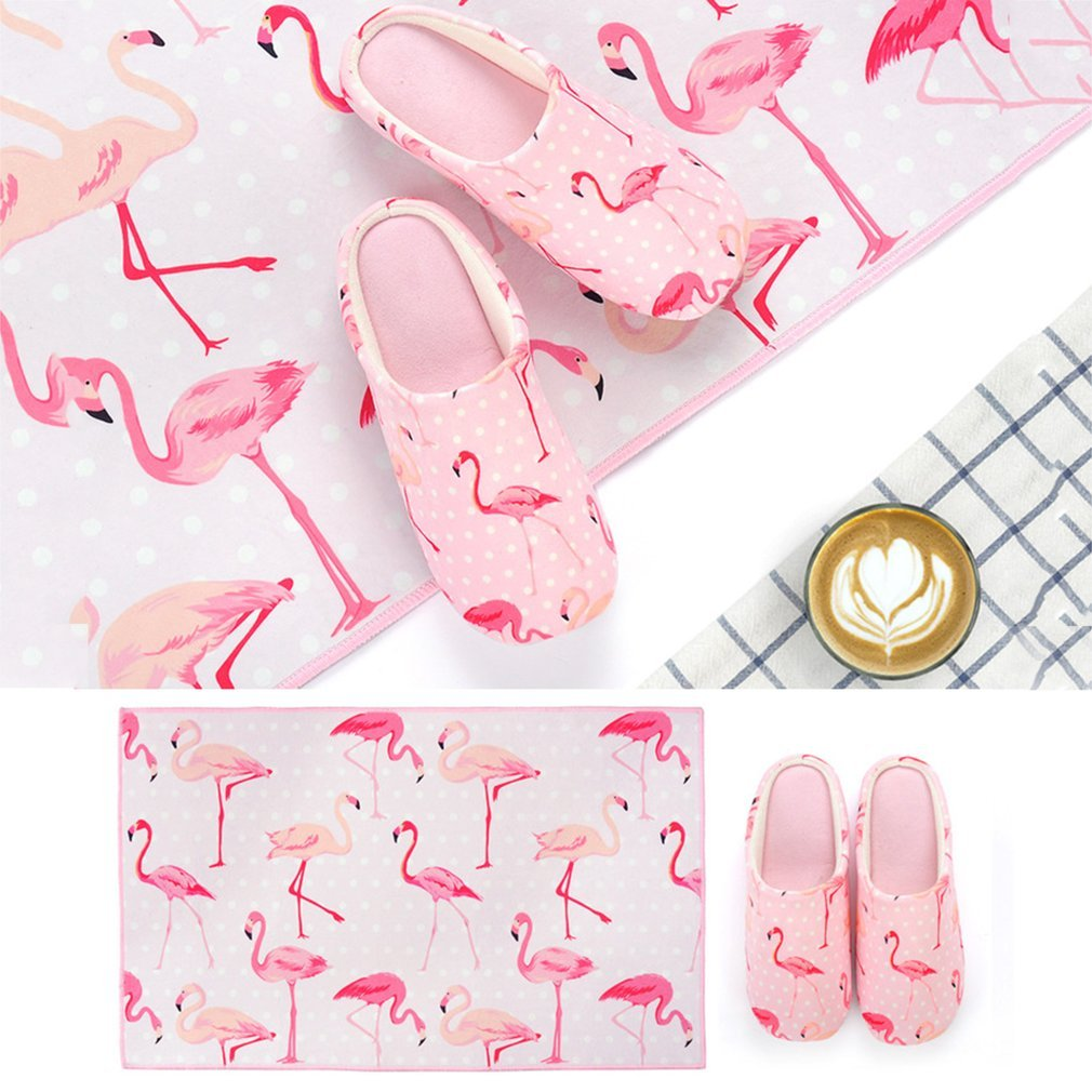 Spring Autumn Lovers Unisex Soft Comfortable Unique Flamingo/Potted Plants Printing Slippers Half Covered Indoor Home Shoes