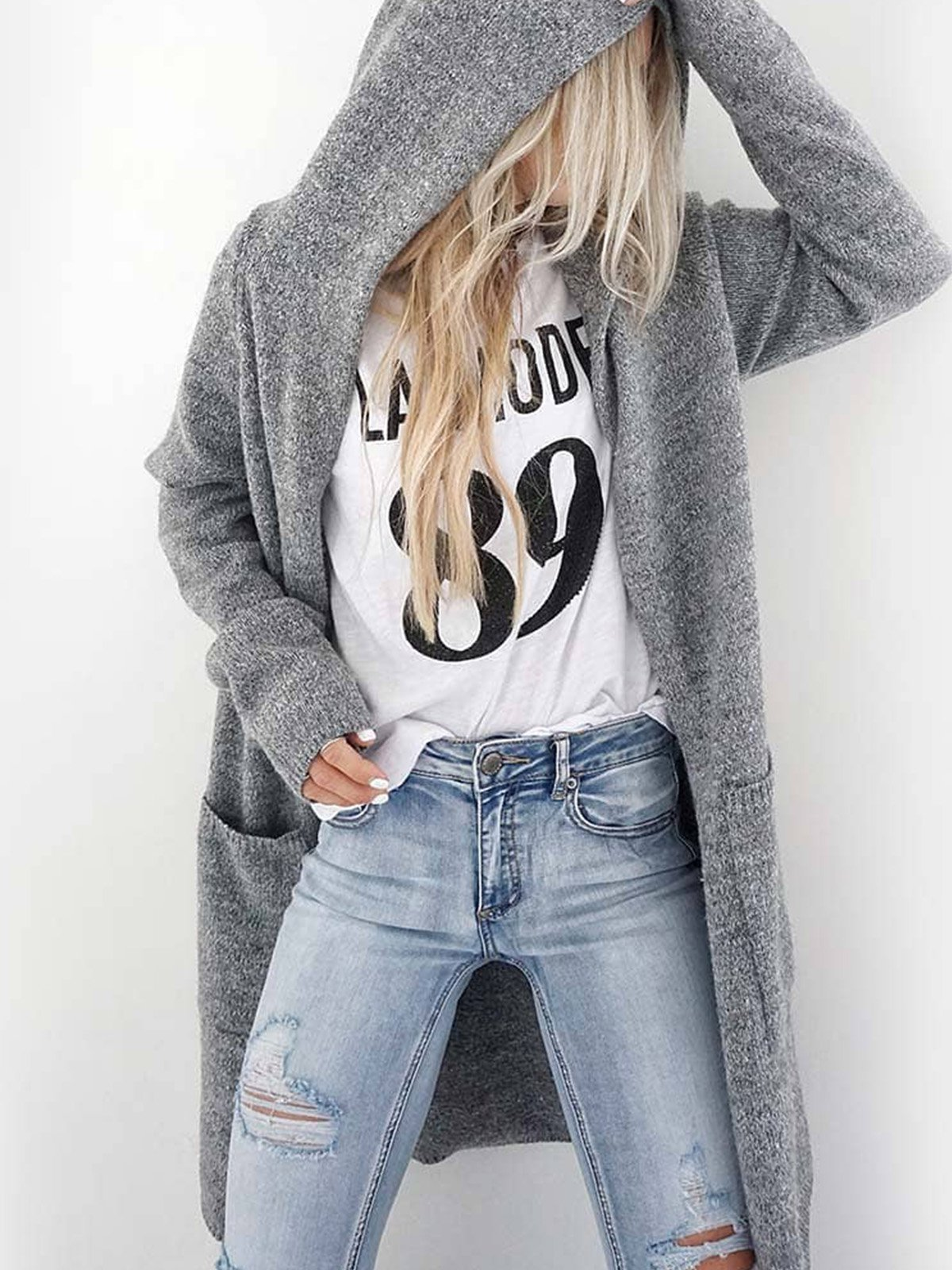 Plus size base sweater Casual Cotton Outerwear