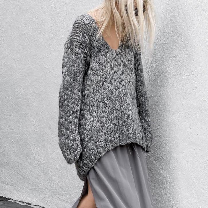 Autumn And Winter V-Neck Loose Thick Sweater