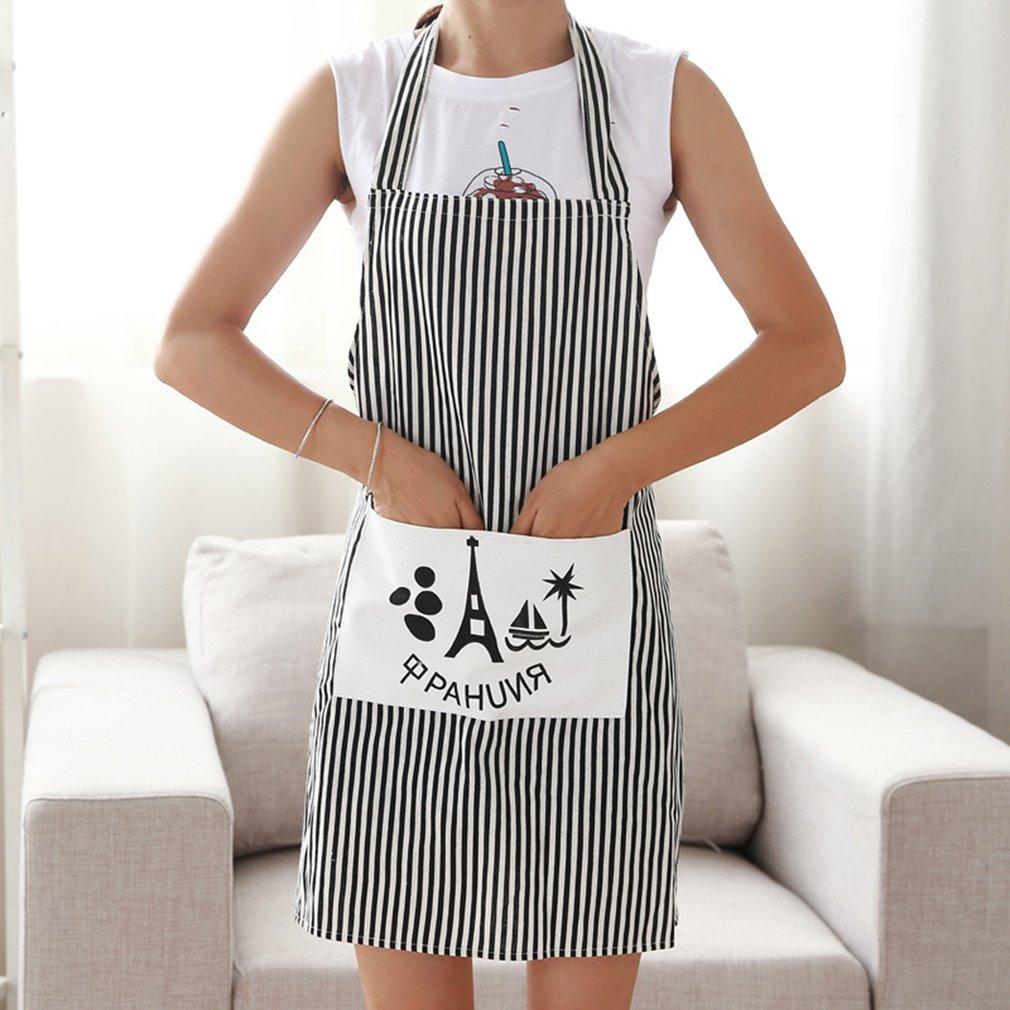 Fashion Stripe Linen Apron With Pockets Thick Anti-oil Household Kitchen Apron