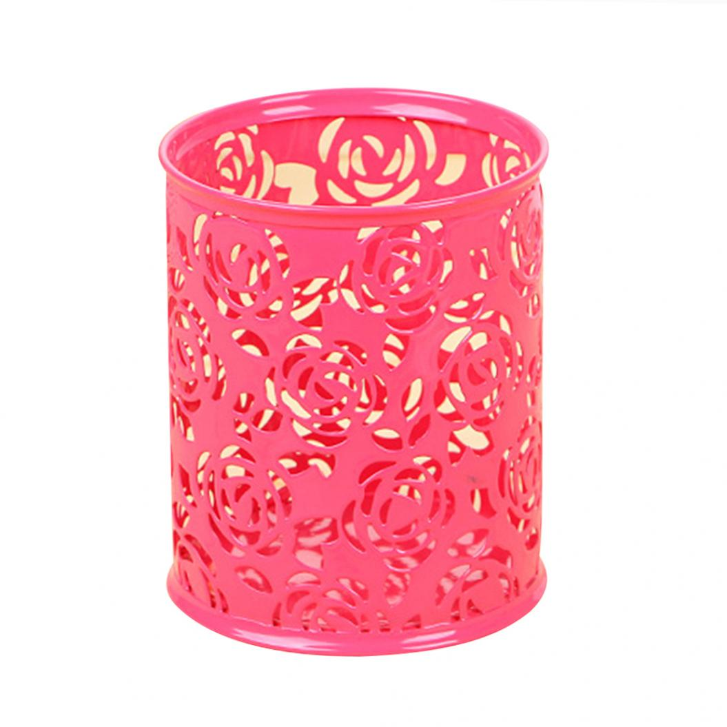 Hollow Metal Rose Flower Cylinder Pen Holder Stationery Storage Box Organizer