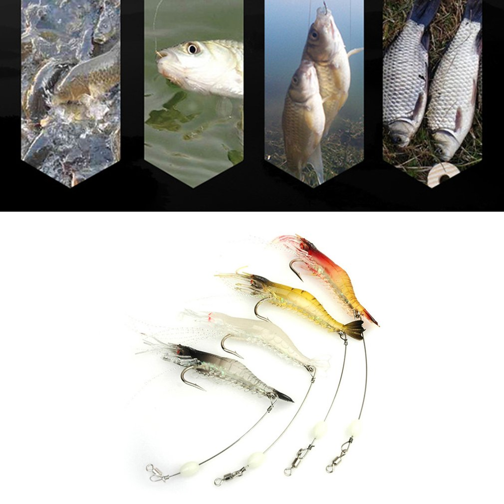 4 Pcs 9.5cm Fishing Lure Bionic Shrimp Soft Bait Luminous Night Glow Bead