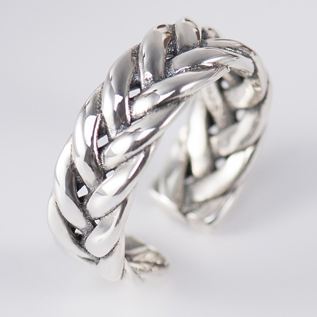 Solid S925 Sterling Silver Rings Vintage Braided Type Finger Ring For Women