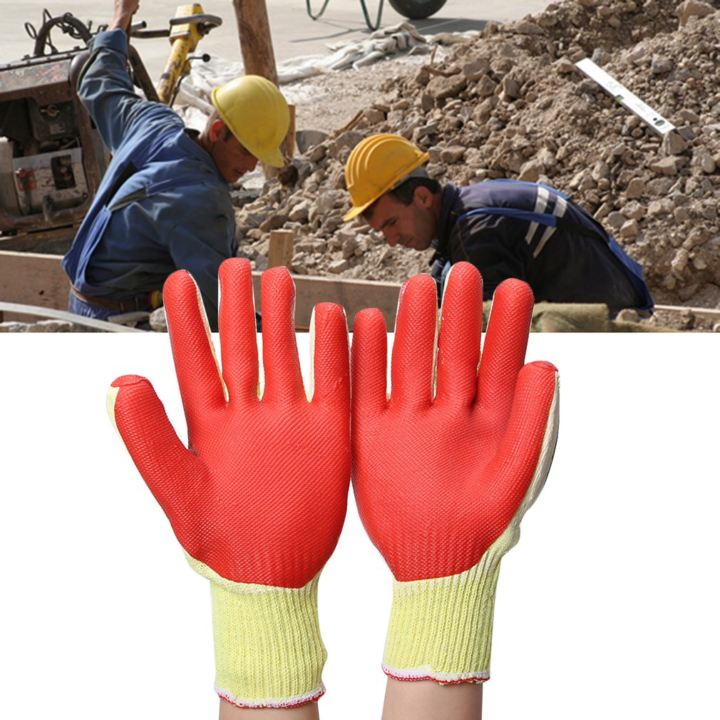 Latex Gloves Security Protective Wear Safety Five Fingers Point Red Yellow