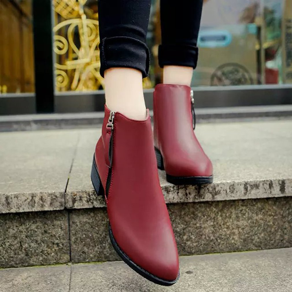 Trendy Design Autumn Winter Women Boots Solid Color Pointed Toe Ankle Boots