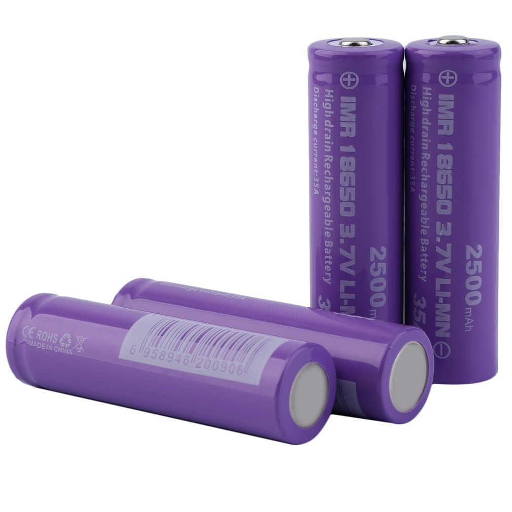 4pcs High Drain 18650 Discharge Current 35A 3.7V Rechargeable Battery 2500mAh