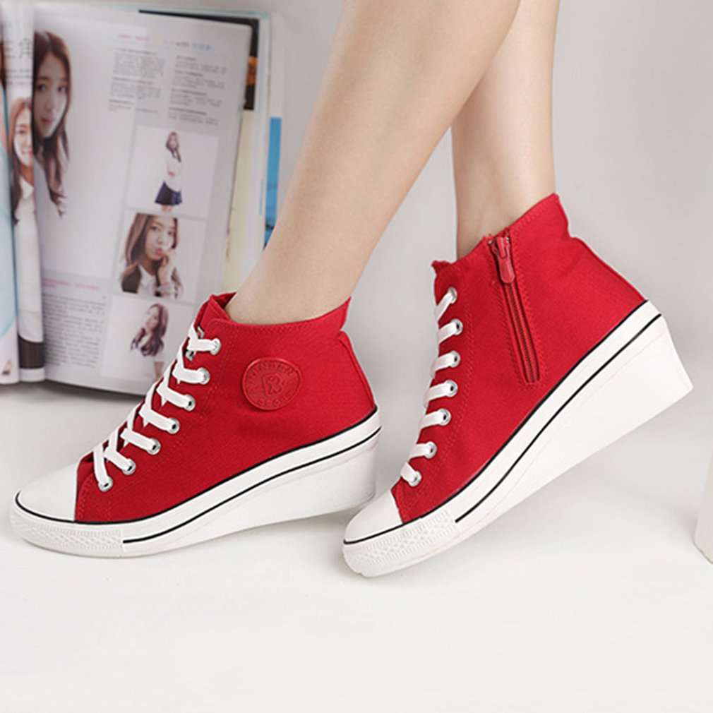 Renben 3901 Female Breathable Slope Canvas Shoes Classic Lace-up High Top Shoes