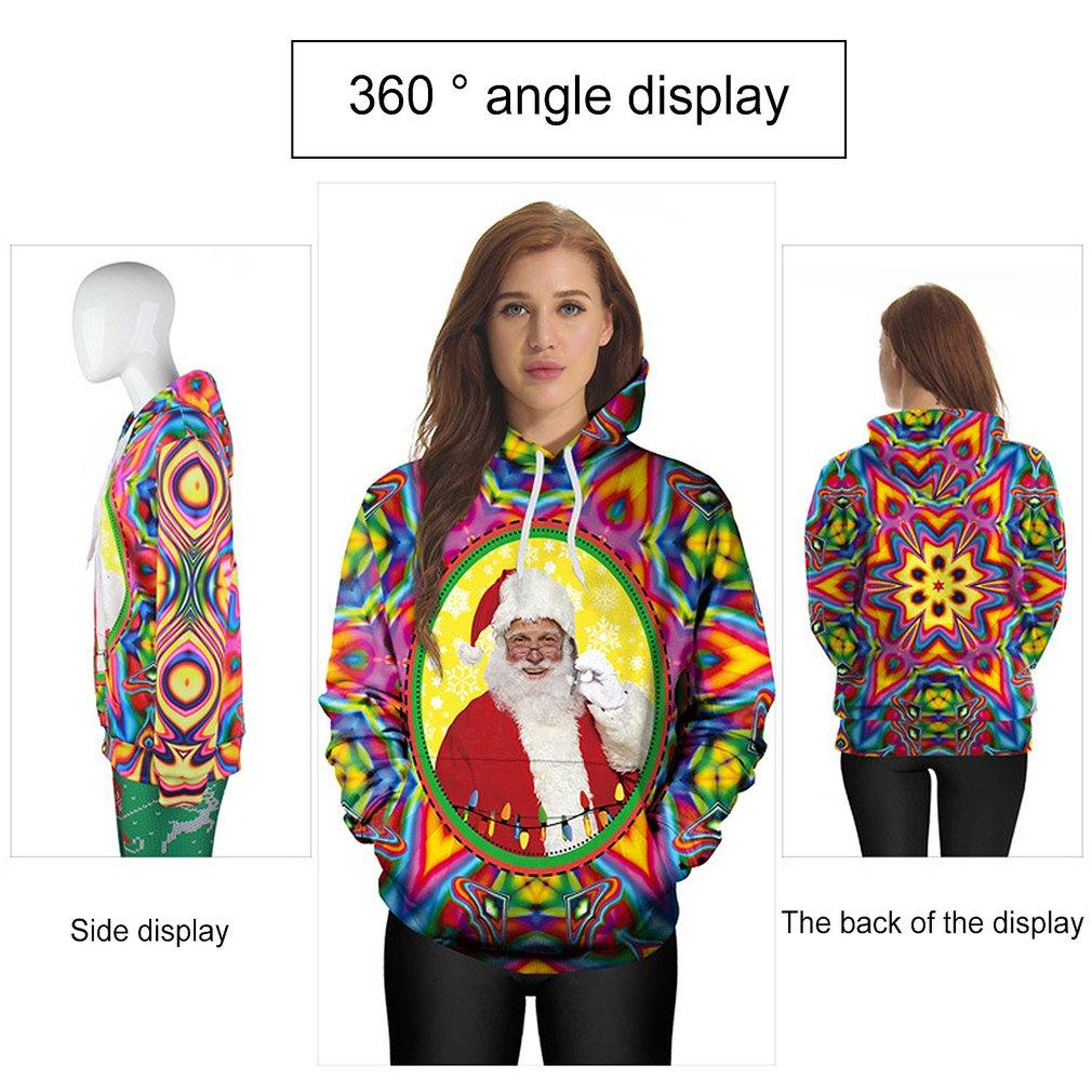 Fashion Women Autumn Christmas Santa Printing Hooded Long Sleeved Hoodie