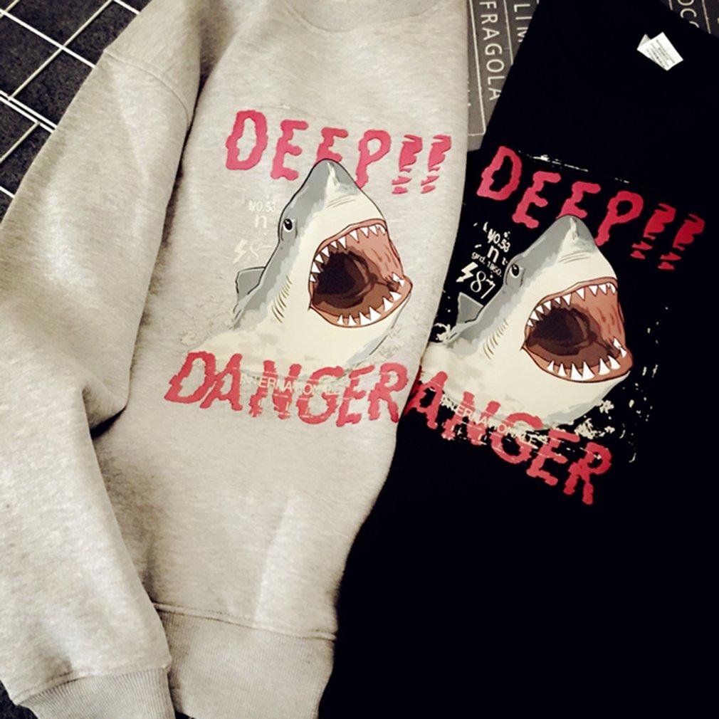 Lovers Loose Harajuku Style Pullover Sweatshirt Shark Pattern Print T-shirt