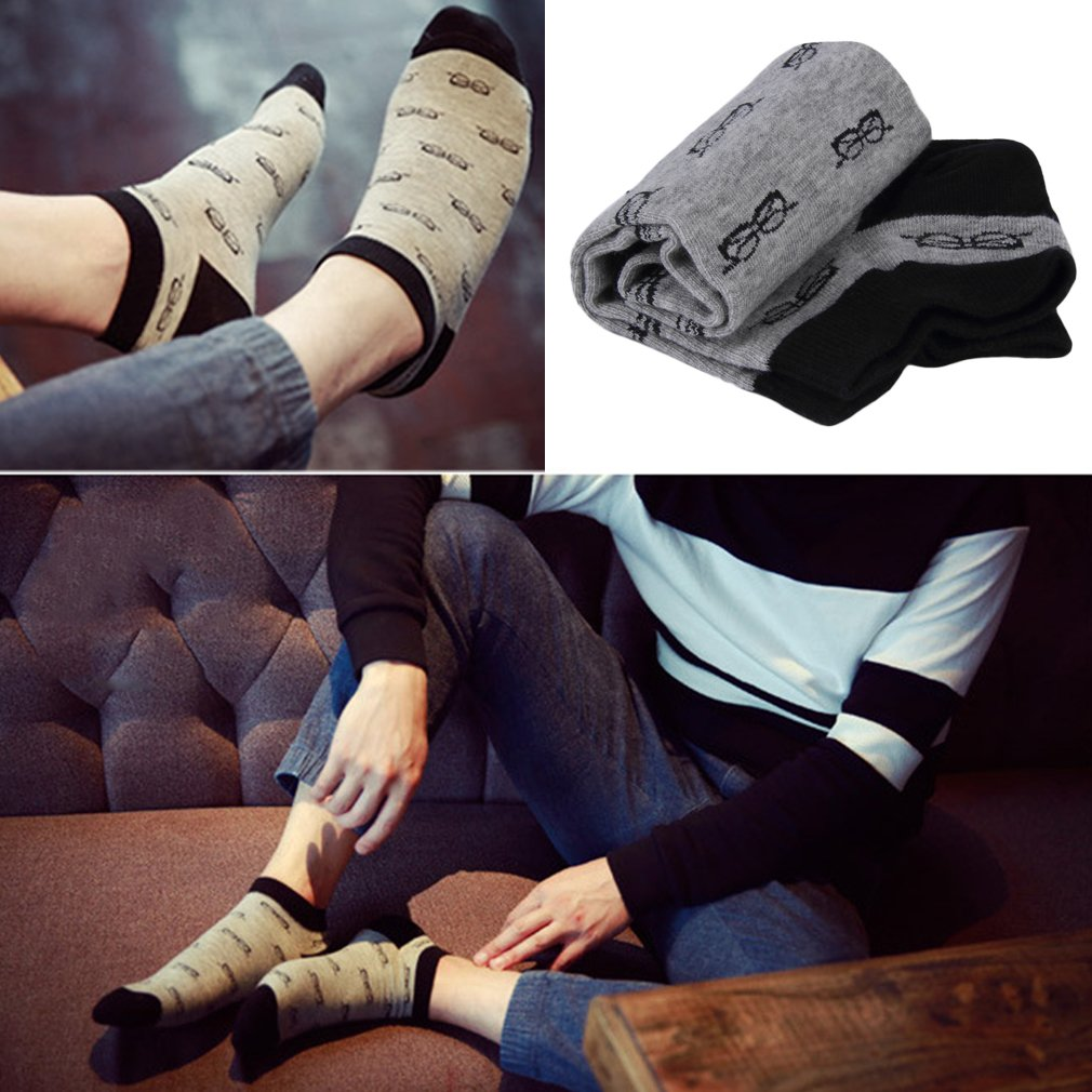 Men's Soft Cotton Ankle Socks Sports Casual Glasses Pattern Four Seasons