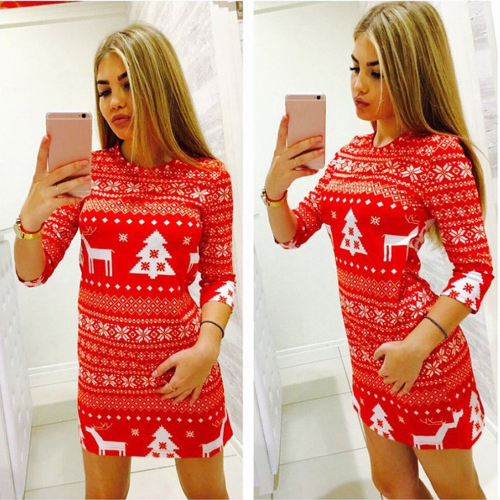 Casual Slim Bodycon Dresses Middle Sleeve Dresses Fawn Printed Lady Dress