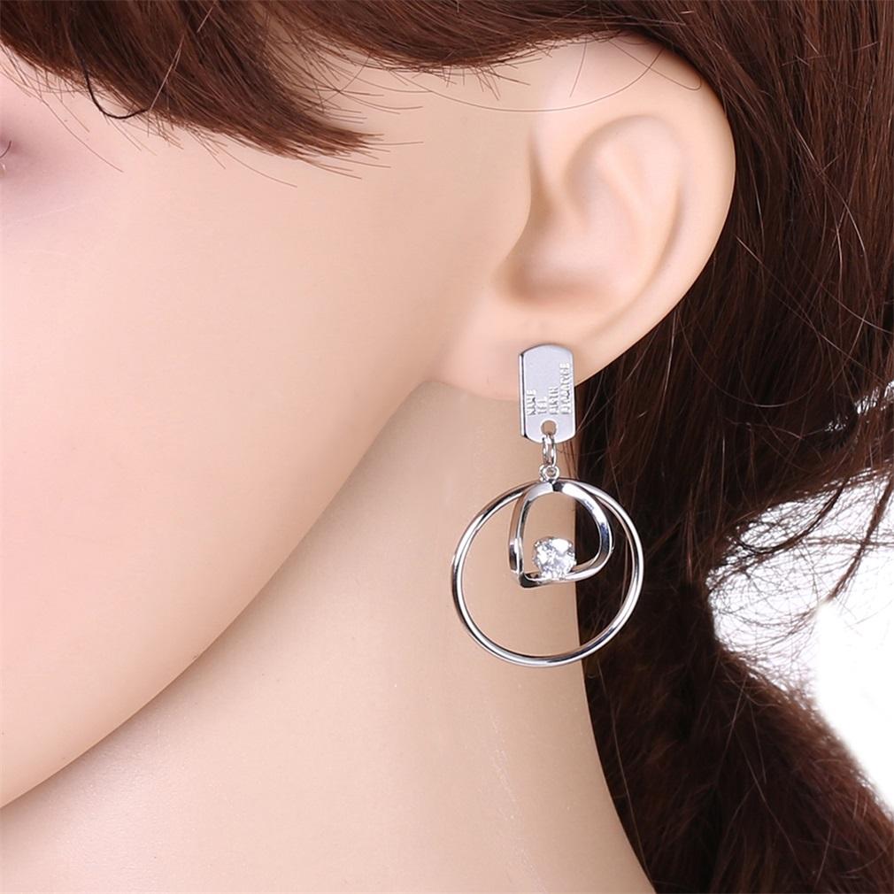 European Women Earrings Round Zircon Copper Material Tag Element Earrings