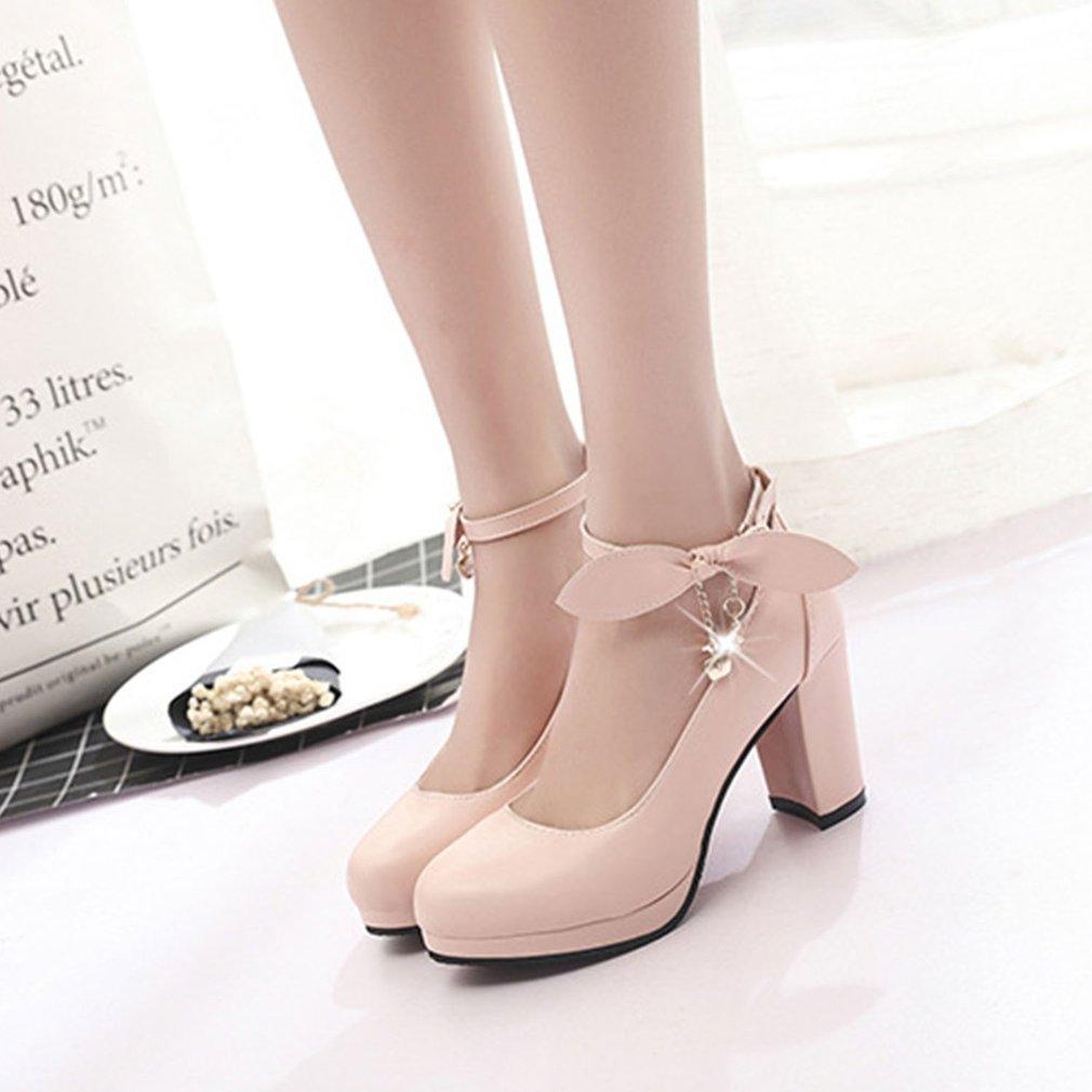 Women Thickened High Heel Shoes Rhinestone PU Leather Wedding Dress Shoes