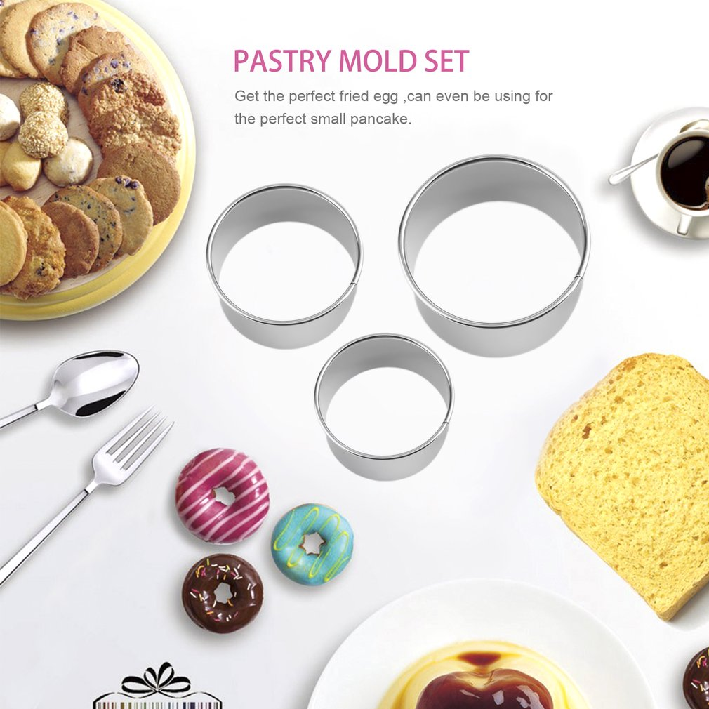 MANBO 3 PCS of Biscuits Mold Bread Molds Stainless Steel Cookies Baking Cake