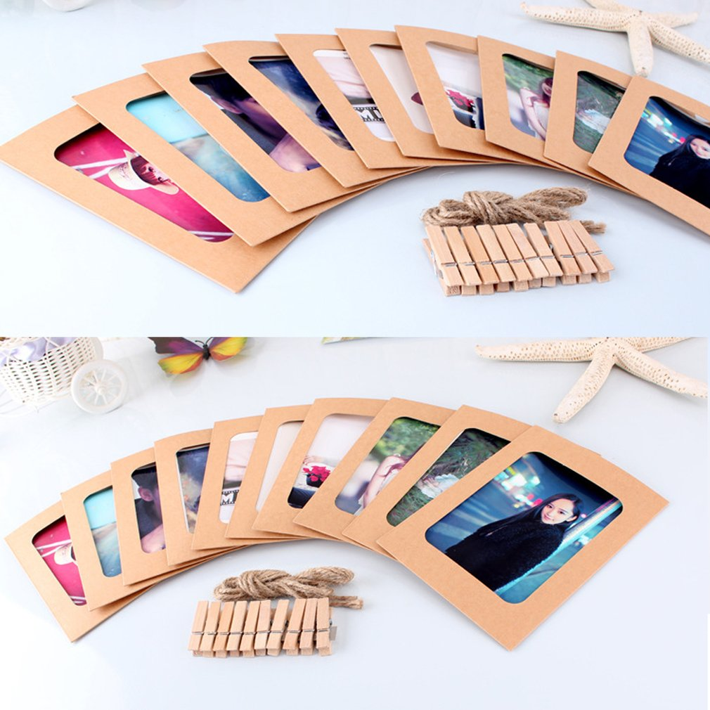 10pcs/set 3/6 Inch Paper Photo DIY Wall Picture Hanging Hemp Rope Clip