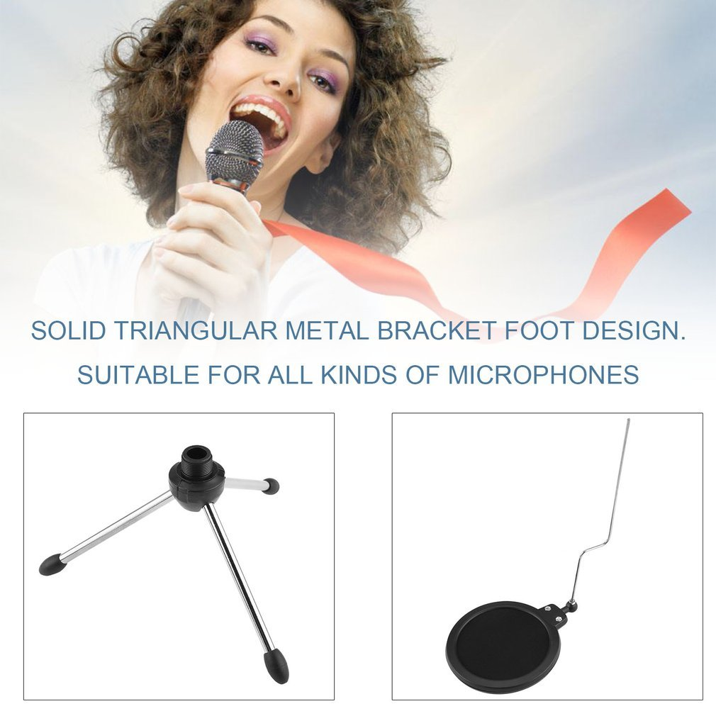 Portable Foldable Detachable Desktop Microphone Tripod Stand with Double-Net Pop Filter for Professional Recording MV Support