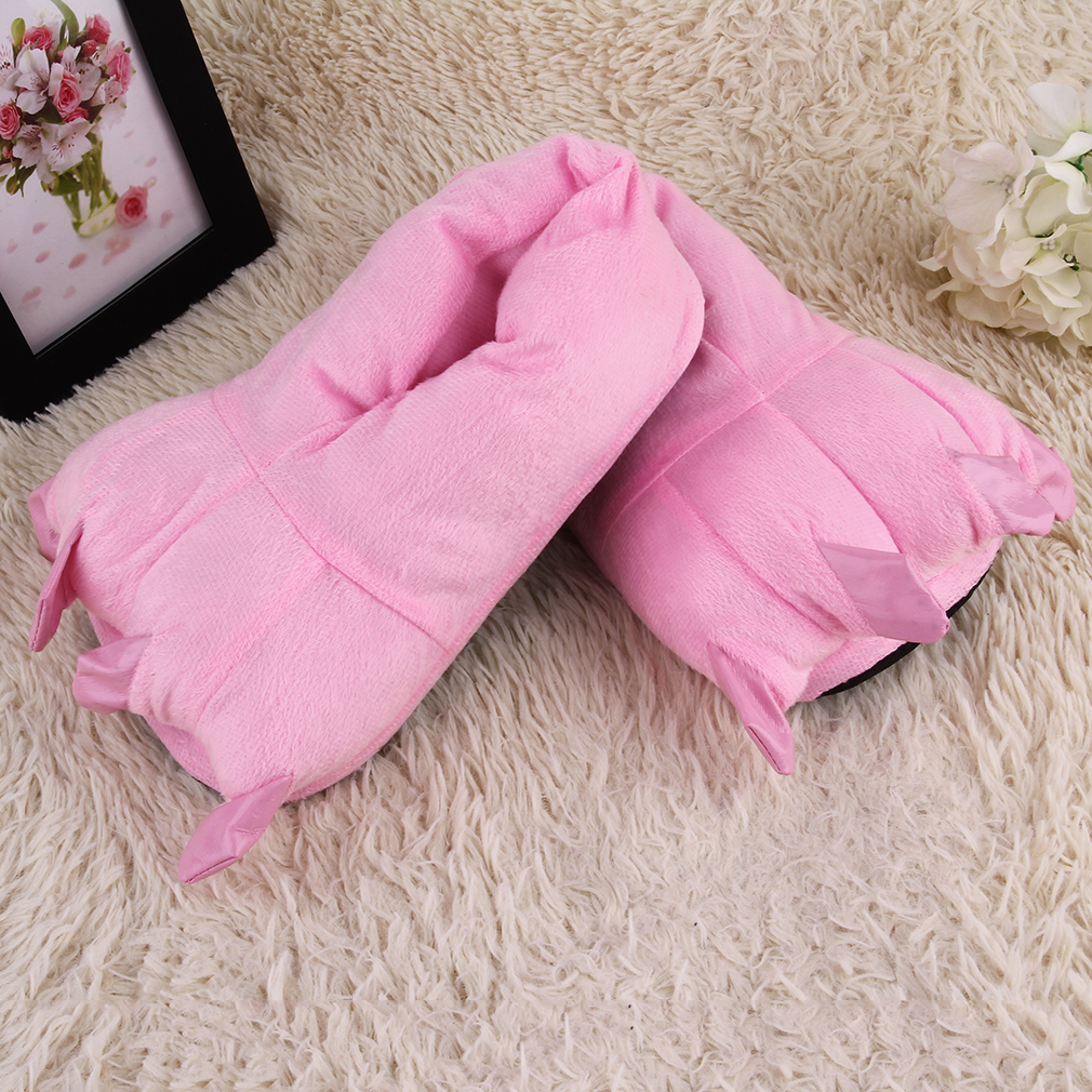 Animals Claw Paw Shape Plush Slippers Warm Floor Sleepwear Cartoon Shoes