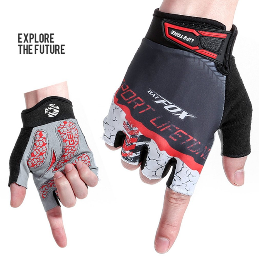 BATFOX Cycling Half Short Finger Gloves Bicycle Gloves Men Women Bike Mitts