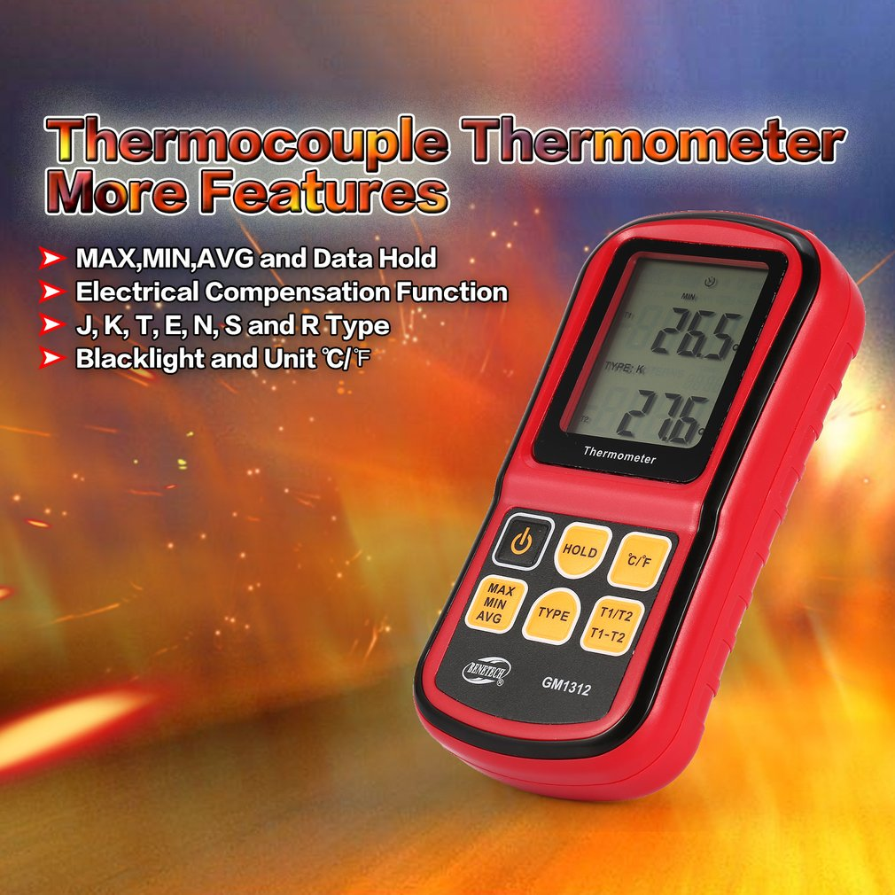 BENETECH K Type Digital Thermocouple Thermometer -50~300℃ Temperature Meter