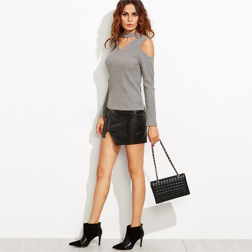 Women V-neck Sweater Strapless Pullover Polyester Fiber Long Sleeved T-shirt