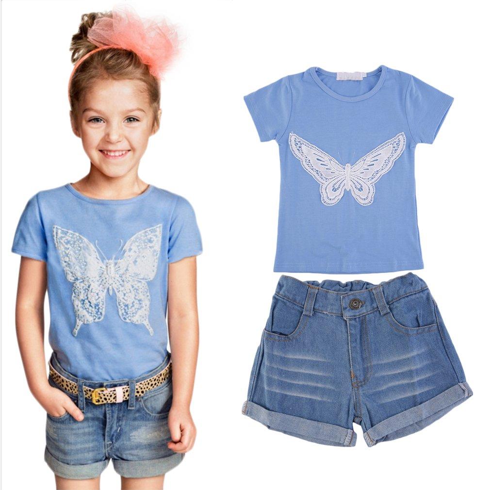 Cotton Children Girls Cute Butterfly T-shirt + Jeans Pants Suit Set