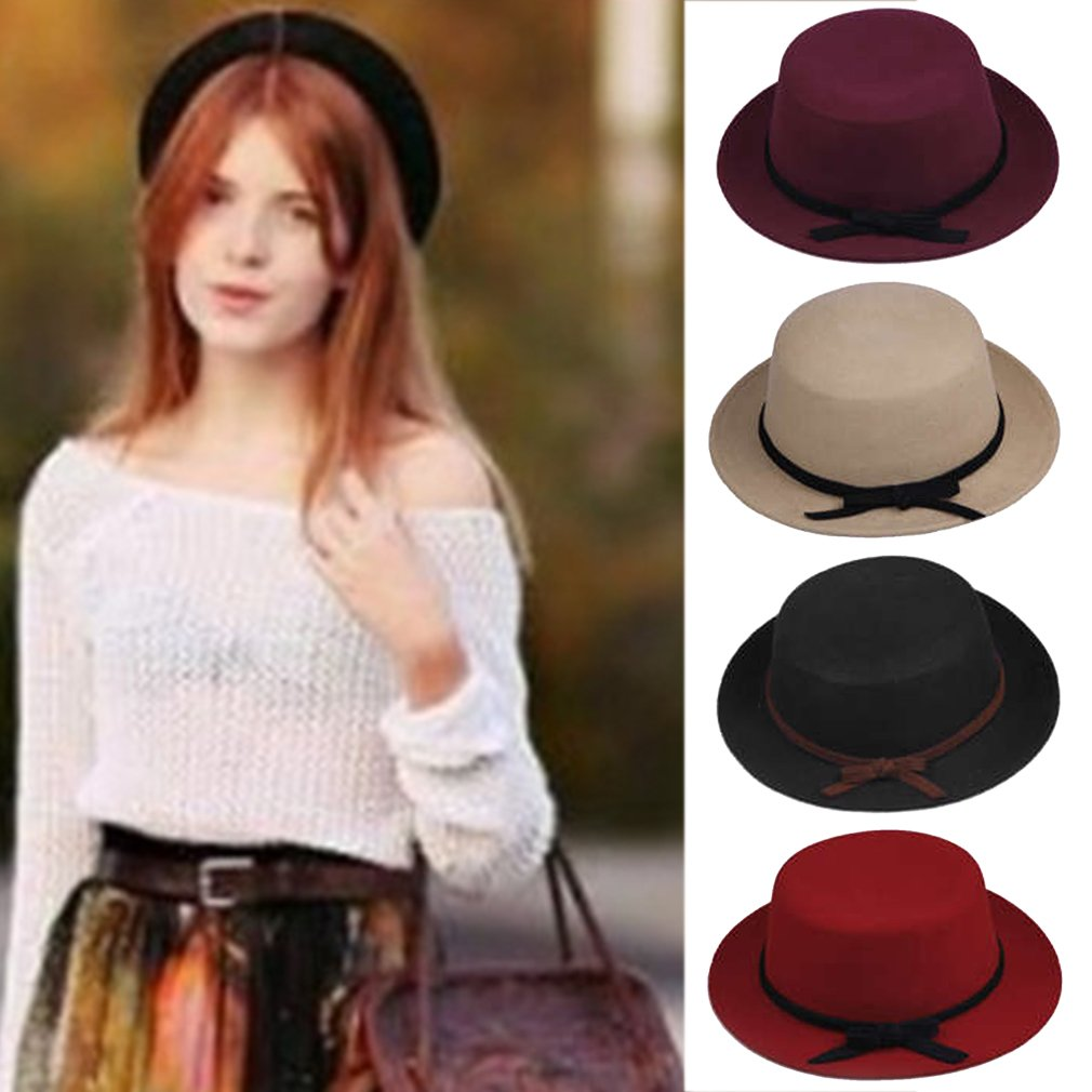 Stylish Lady Solid Color Wool Cloth Derby Bowknot Bucket Hat Flat Top Cap