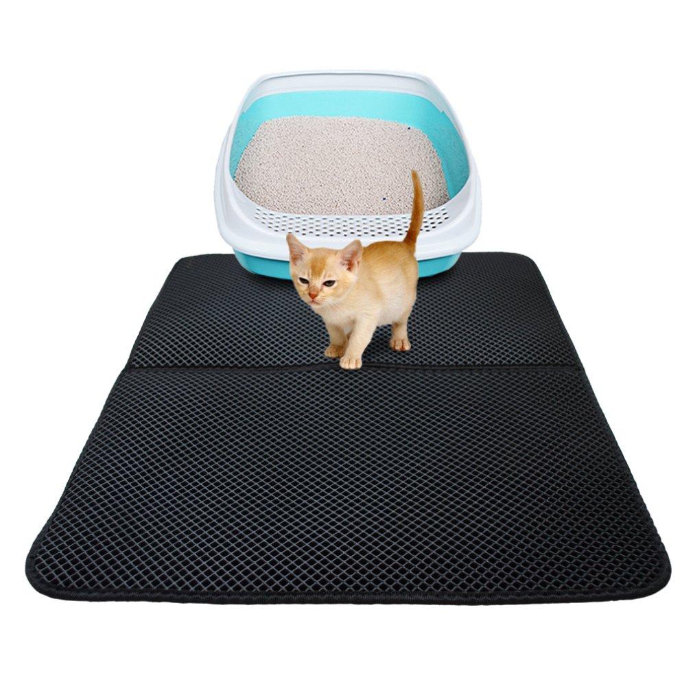 Washable EVA Cat Litter Mat Black Waterproof Double-Layer Cat Litter Trapper Mat Soft Cat Cushion Foldable Cat Bed