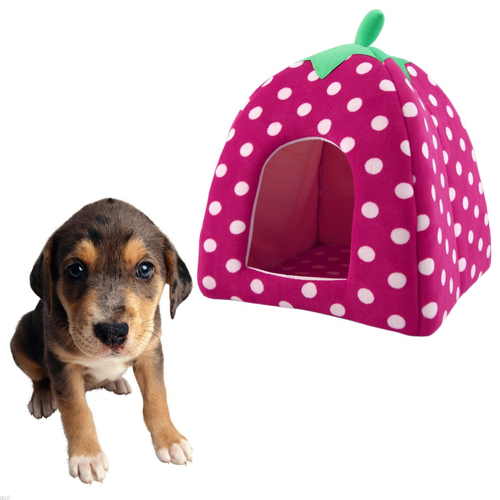 Portable Lovely Strawberry Soft Cashmere Warm Pet Nest Dog Cat Bed Foldable