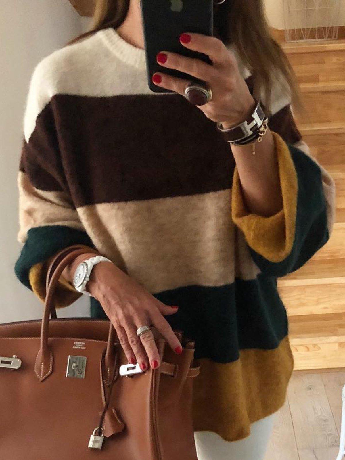 Multicolor Casual Shift Color-Block Sweater