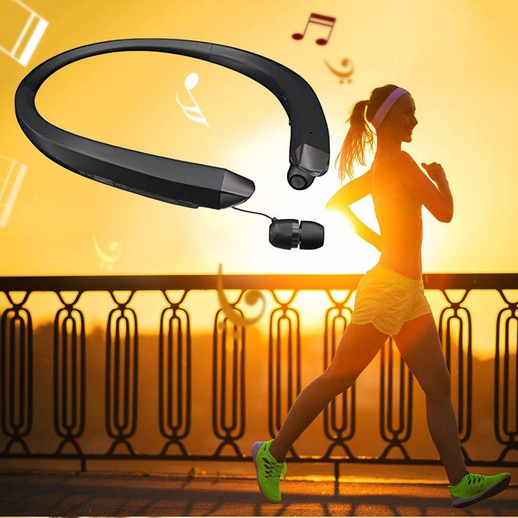 Bluetooth Headset Sport Stereo Wireless Headphone Retractable Earphone