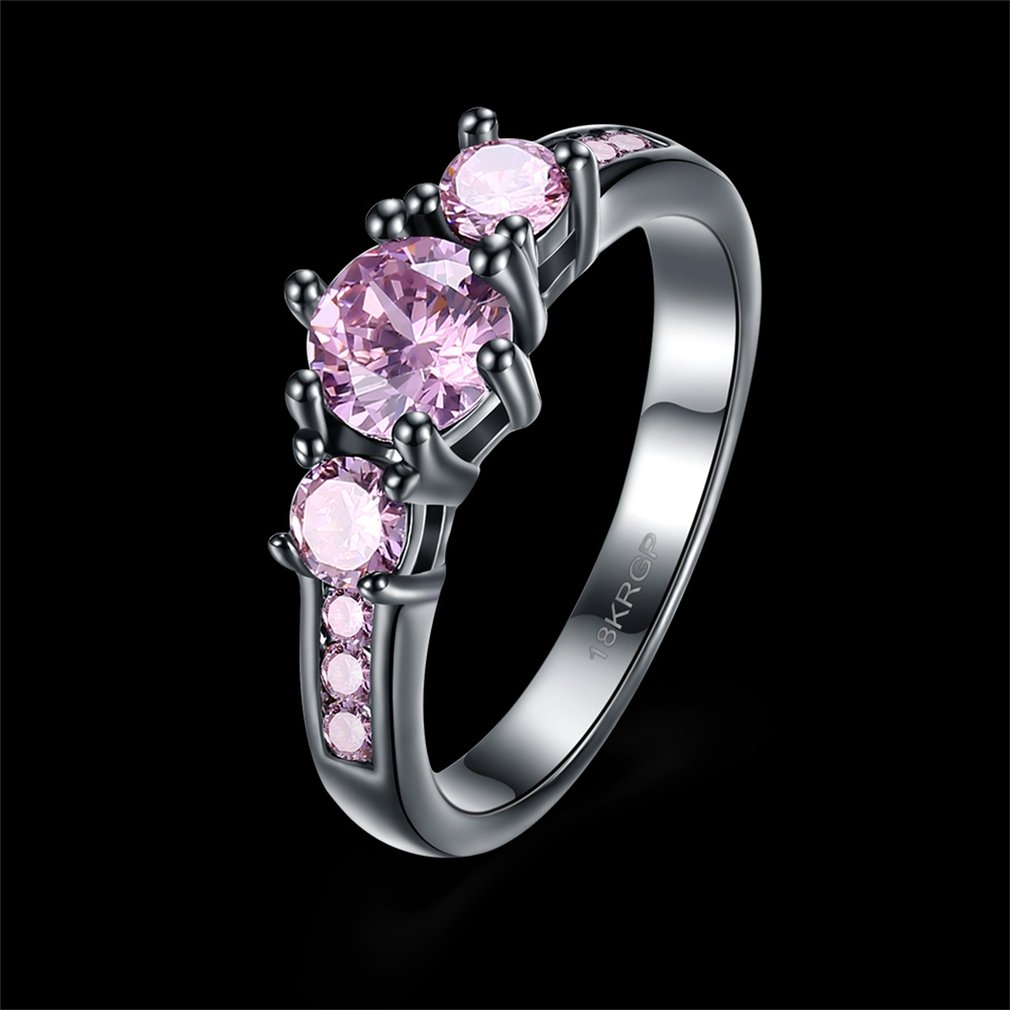 Fashion Round Zircon Surround Rings Unique Design Wedding Ring for Women