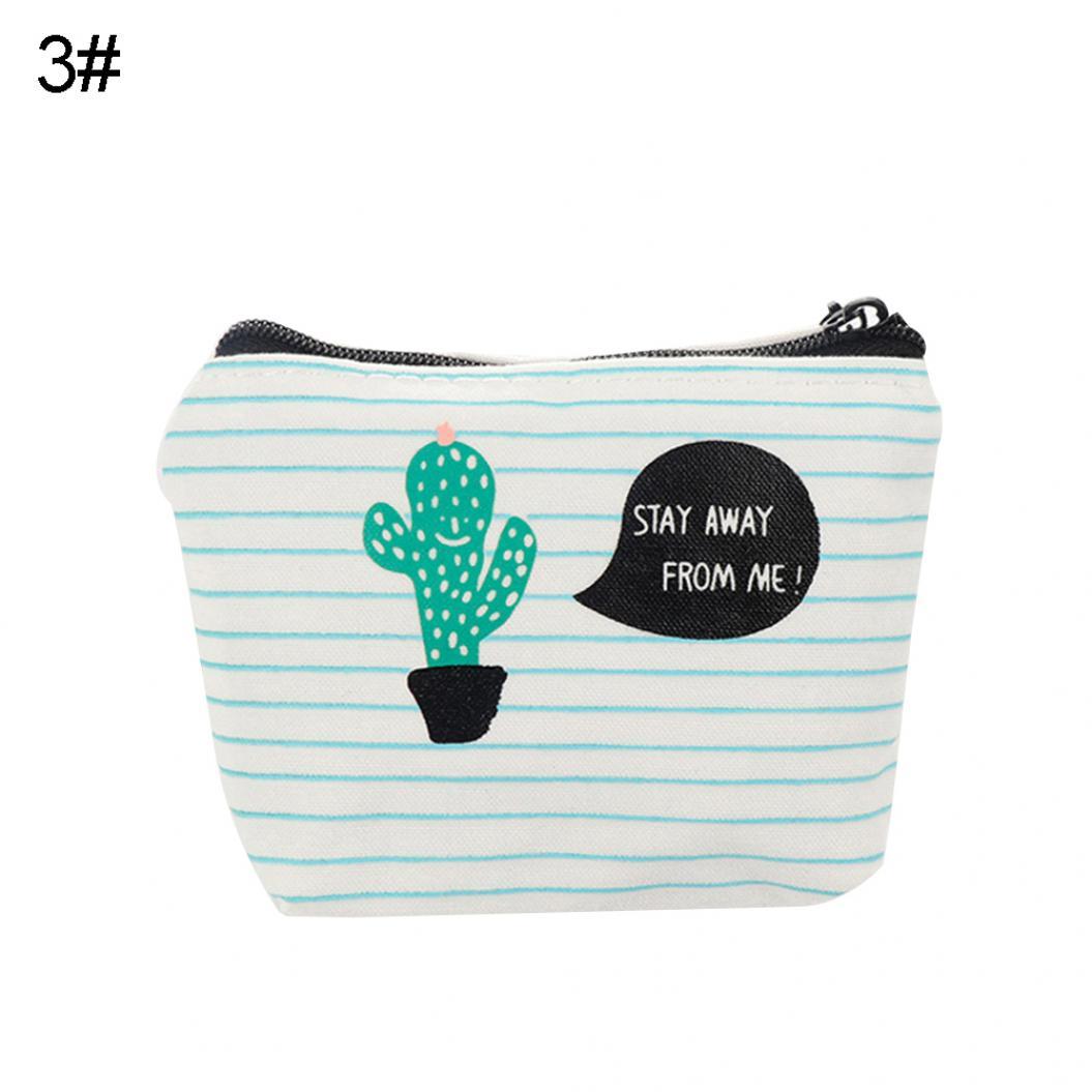 Cactus Print Students Keychain Pencil Case Zipper Storage Coin Pouch Mini Bag