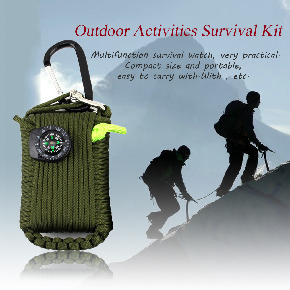 EMAK 29 in 1 Outdoor Activities Survival Kit Whistle Compass Rescue Bag