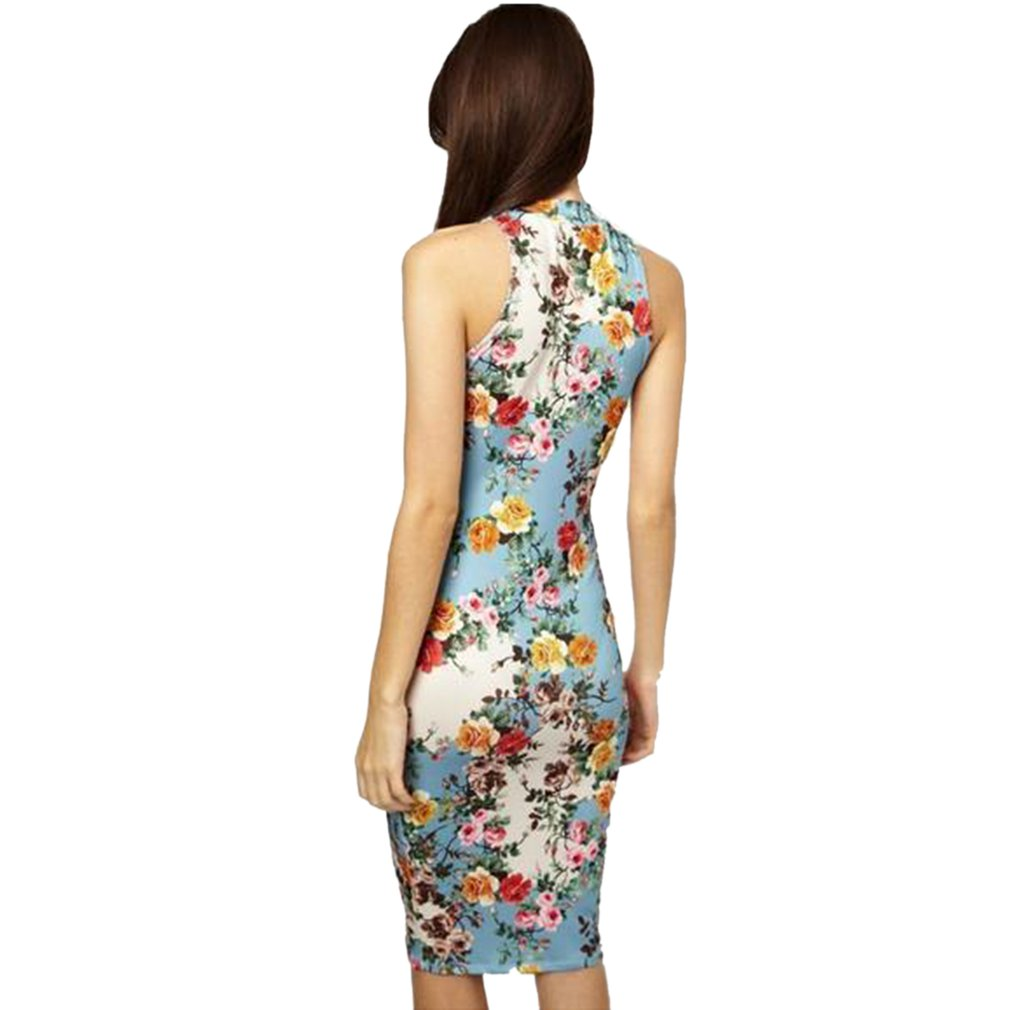 Summer European American Fashion Women Package Hip Long Dress Vintage Floral Printed Design Sexy Ladies Sleeveless Dress