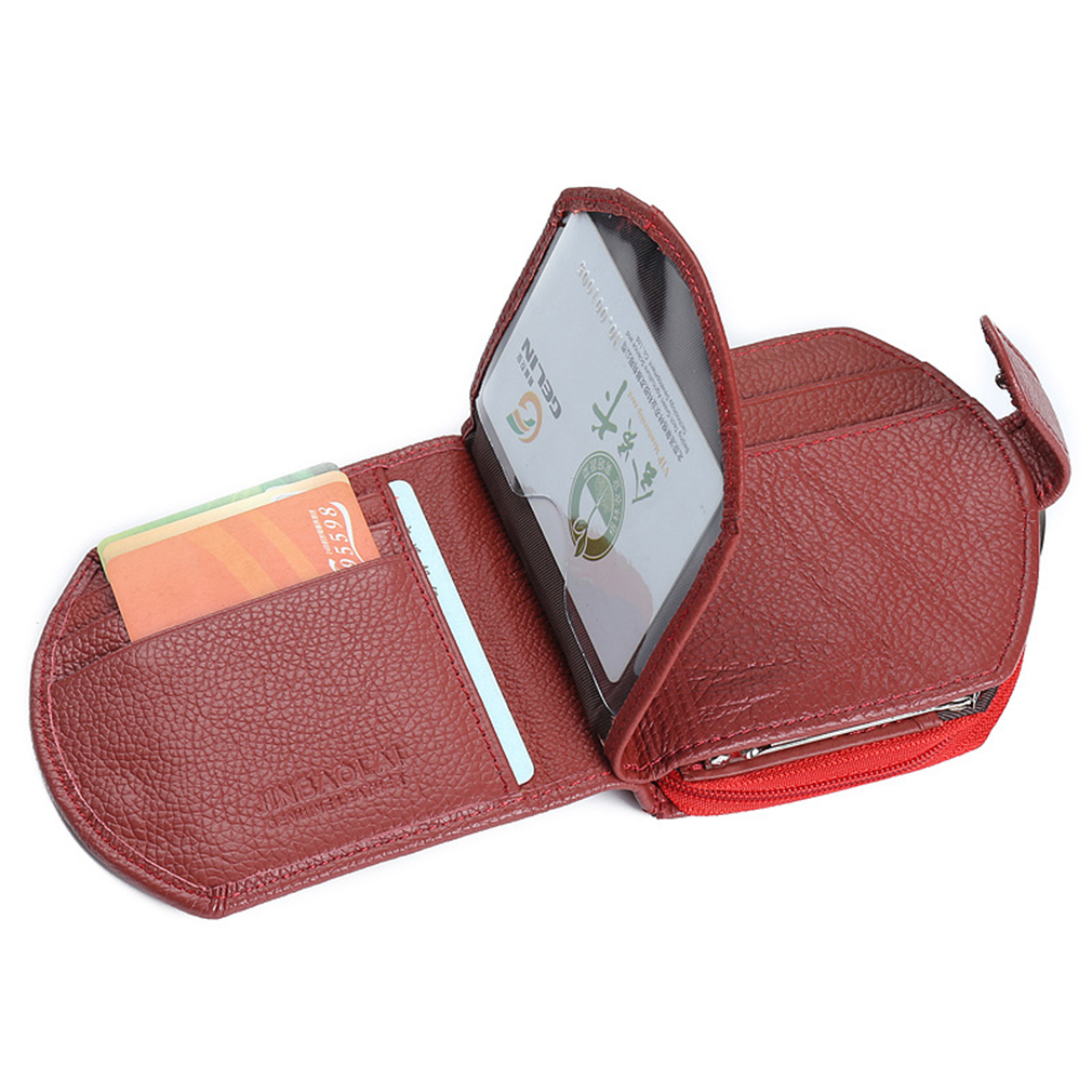 JINBAOLAI Speical Three Folded Portable Women PU Leather Credit Card Wallet