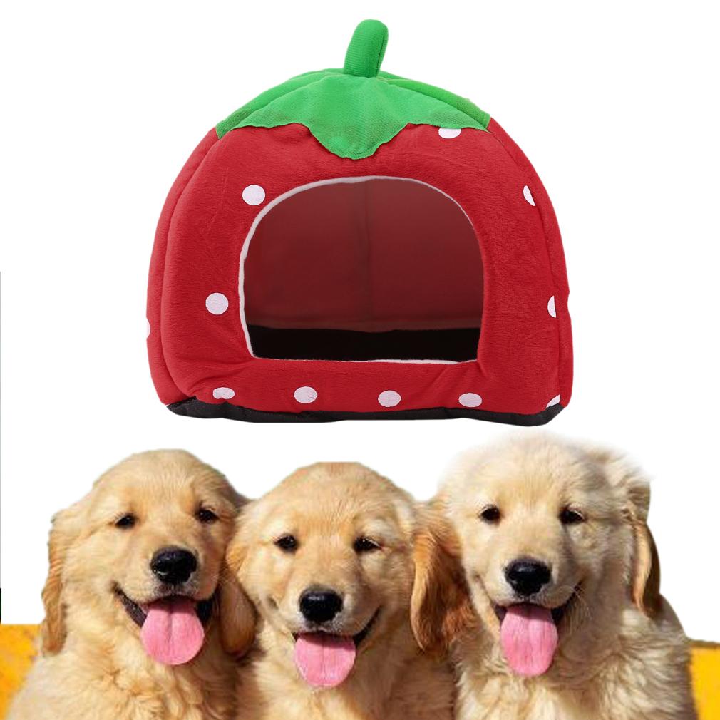 Soft Strawberry Pet Igloo Dog Cat House Kennel Doggy Fashion Cushion Basket