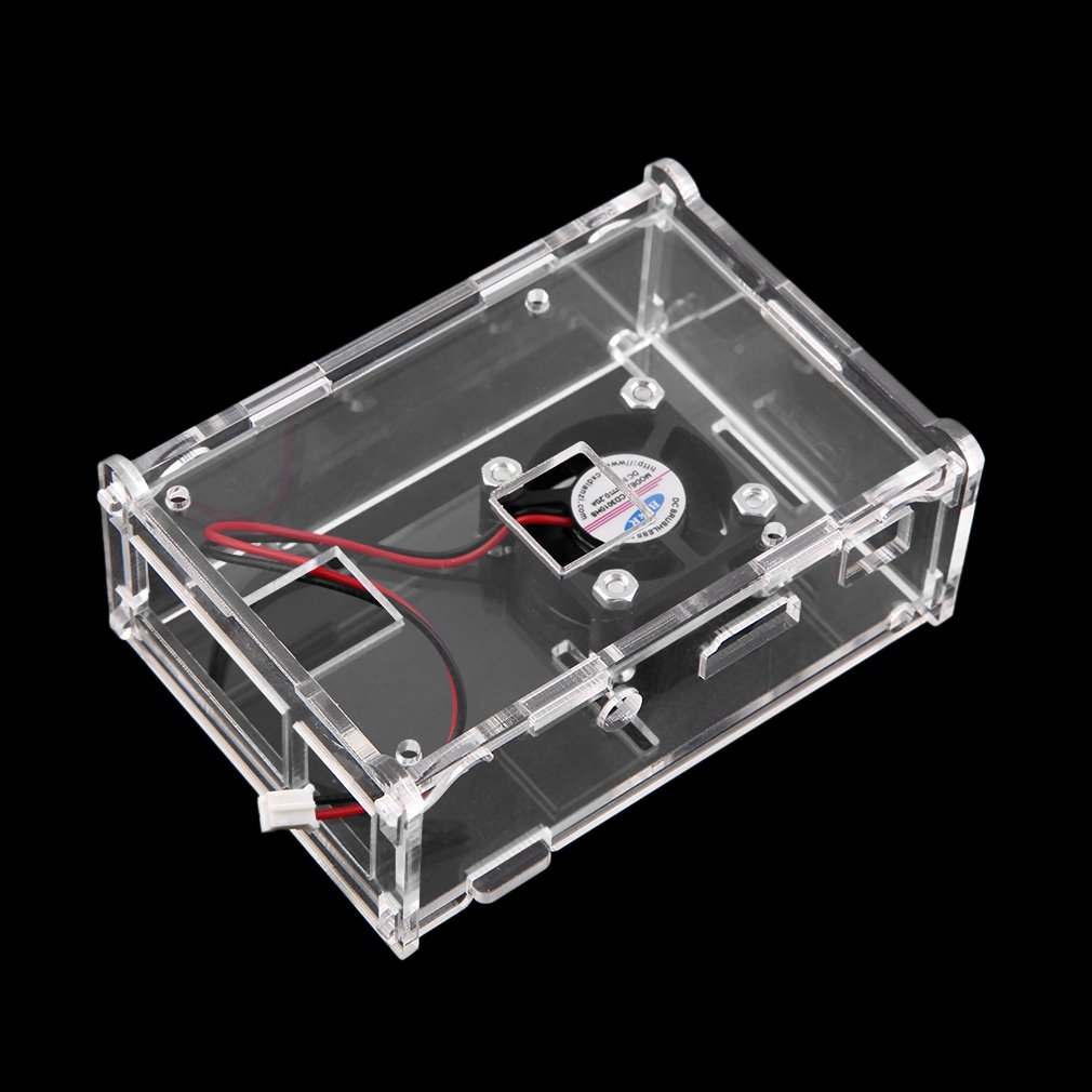 Transparent Clear Case Enclosure Box + Cooling Fan for Raspberry Pi 2 Model