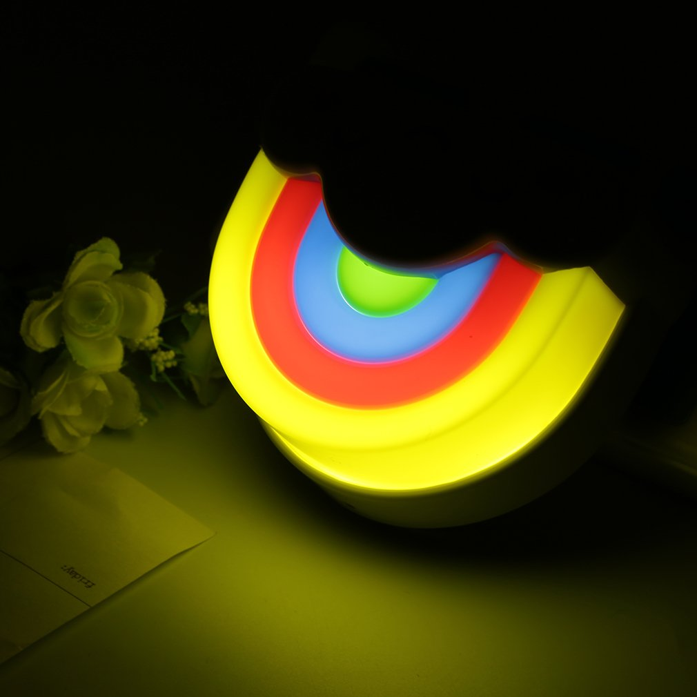 Mini Cute Rainbow Cloud LED Night Light Lamp with Voice and Light Sensor