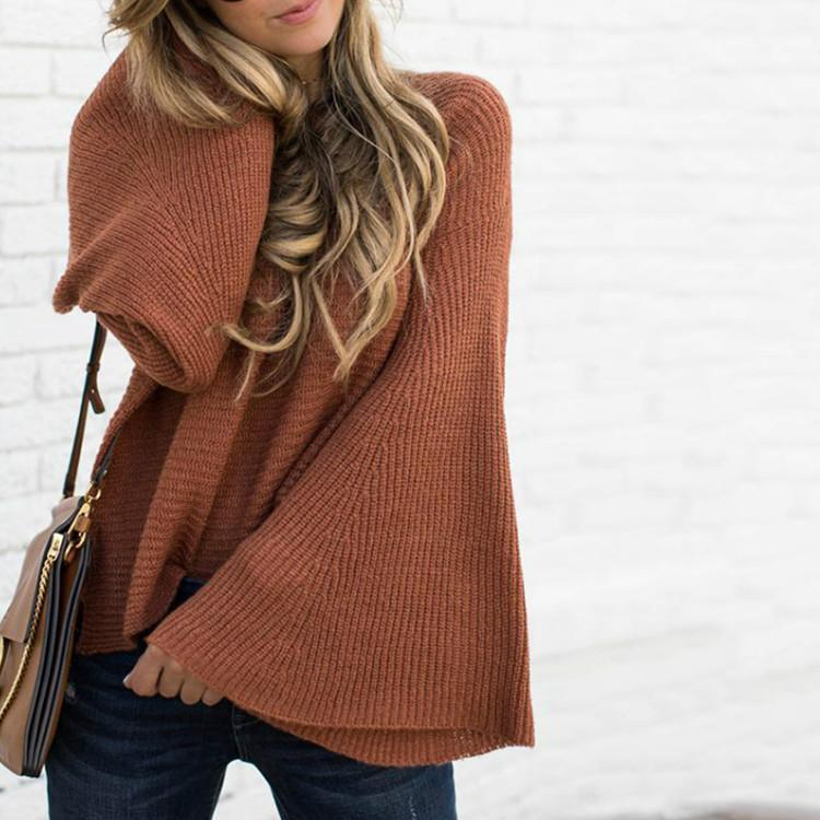 Pure Color Horn Sleeve Round Collar Loose Sweater Sweater