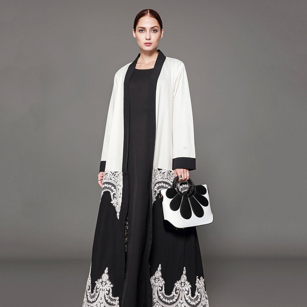 Elegant Dress Black & White Cardigan Muslim Abaya Dress Long Robes Comfortable Long Sleeved Arabic Dubai Women Clothing