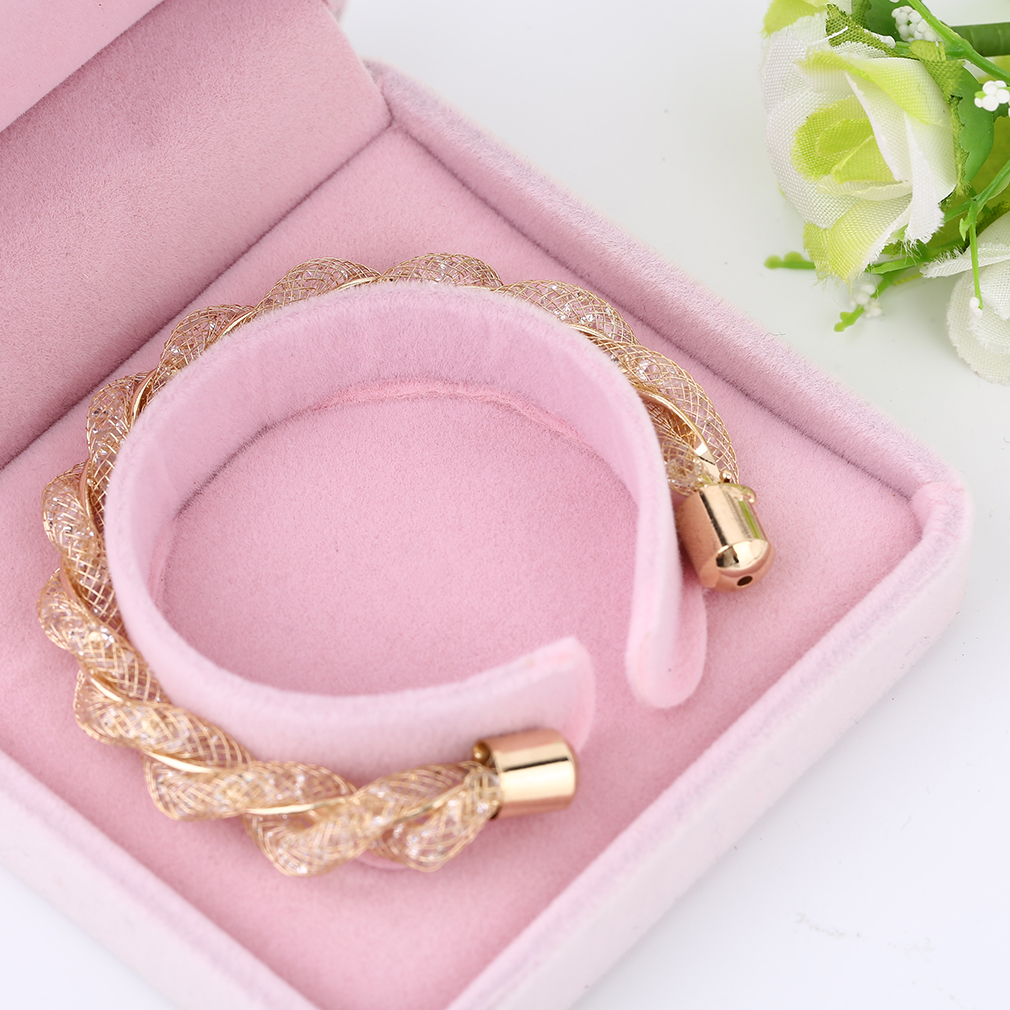 Women Casual Twisting Deisgn Net Surface Diamond Plated Bracelet Jewelry