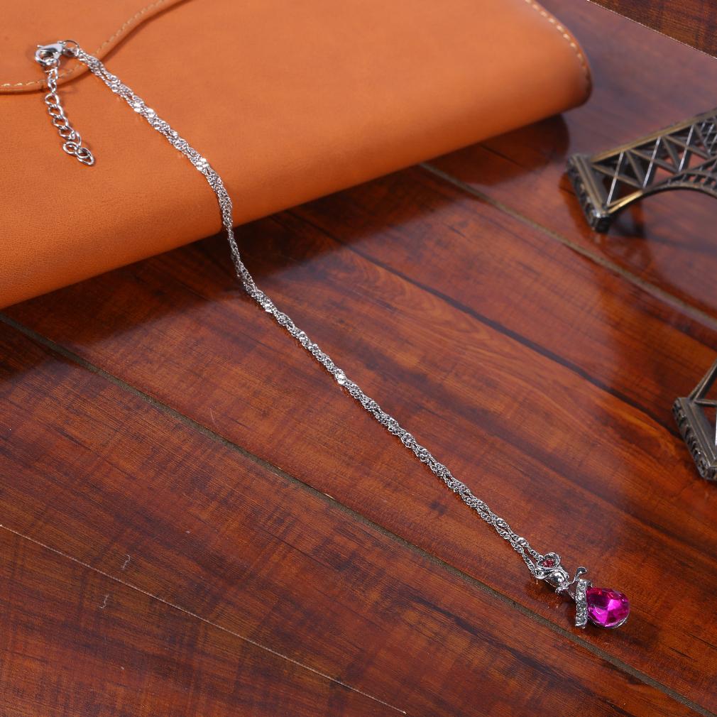 Korean Women Necklace Alloy Simulated Diamond Rose Flower Shape Necklace